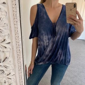 NEW! Blue Tie Dye Draped Cold Shoulder Top / Small